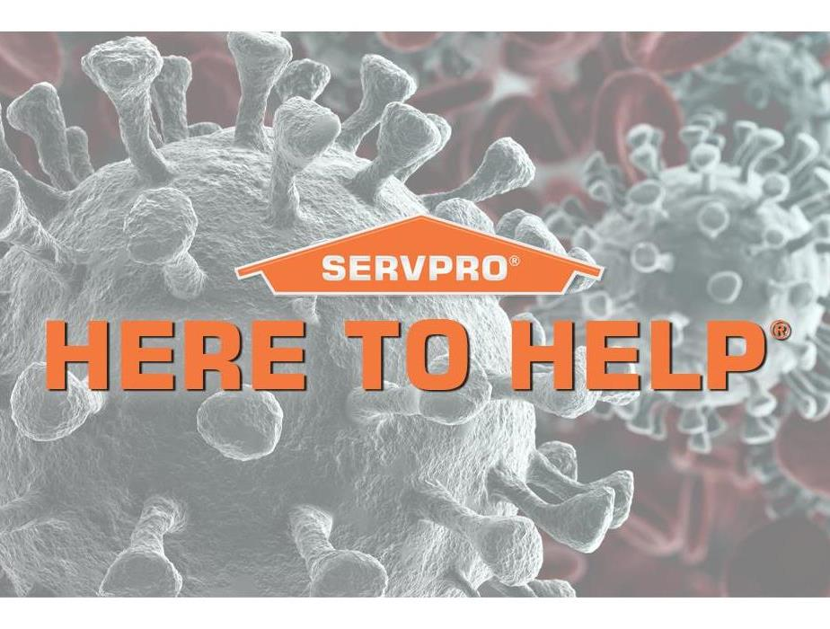 SERVPRO logo with Here To Help over image of the coronavirus